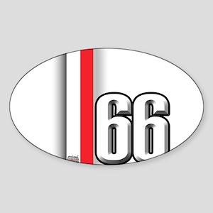 66 Red White Sticker (Oval)