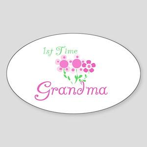 1st Time Grandma Oval Sticker