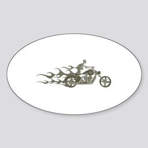 Skeleton Biker with Flames Sticker