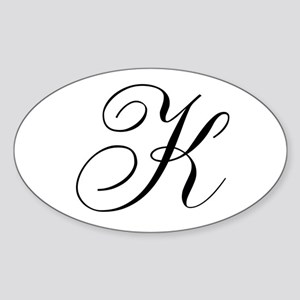 K Initial Black and White Sript Sticker (Oval)