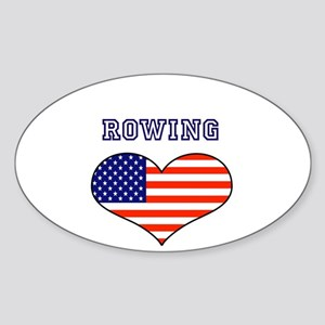 LOVE ROWING Stars and Stripes Sticker (Oval)