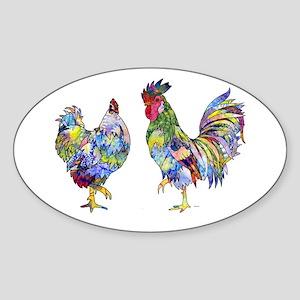 Rooster & Hen Sticker (Oval)