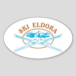 Eldora Crossed-Skis Badge Sticker (Oval)