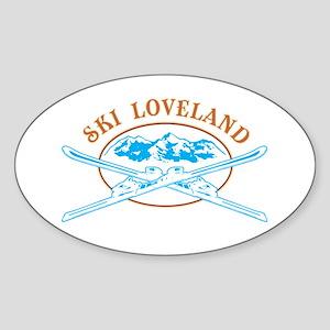 Loveland Crossed-Skis Badge Sticker (Oval)