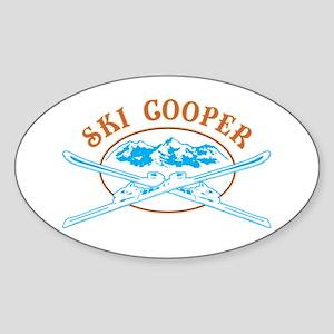 Ski Cooper Crossed-Skis Badge Sticker (Oval)