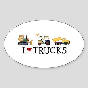 I Love Trucks Sticker (Oval)