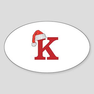 Letter K Christmas Monogram Sticker