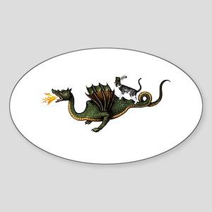 Steampunk Cat Riding A Dragon Sticker (Oval)