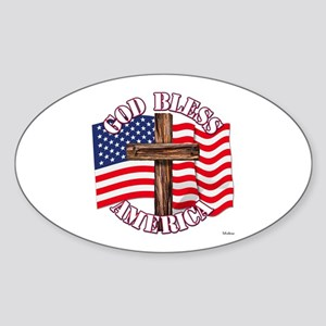 God Bless America With USA Flag and Cross Sticker