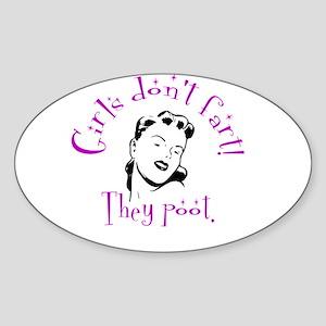 Girls don't fart Oval Sticker