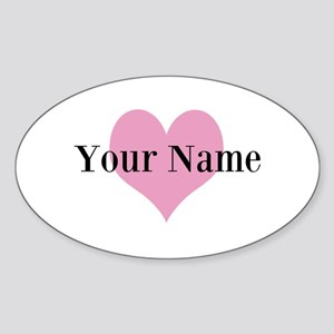 Pink heart and personalized name Sticker