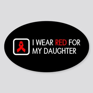 Red Ribbon: Red for my Daughter Sticker (Oval)