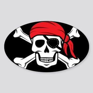 Jolly Roger Pirate (on Black) Sticker