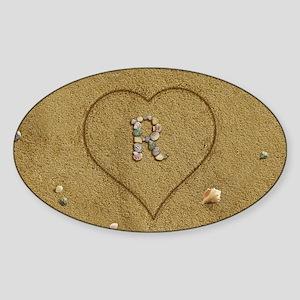 R Beach Love Sticker (Oval)