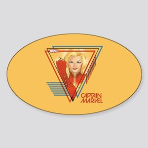 Captain Marvel Triangle Sticker (Oval)