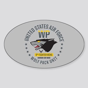 USAF Wolf Pack 8th Fighter Wing Sticker (Oval)