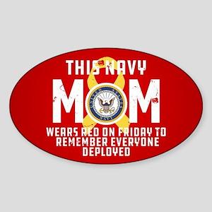 Navy Mom Wears RED Sticker (Oval)