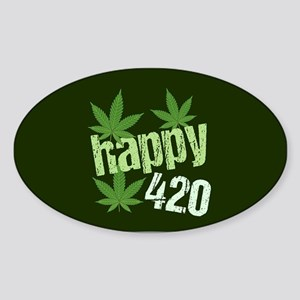 Happy 420 Marijuana Sticker (Oval)