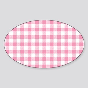 Pink Gingham Pattern Sticker (Oval)