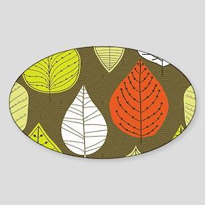 Leaves on Green Mid Century Modern Sticker