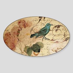 teal bird vintage roses swi Sticker