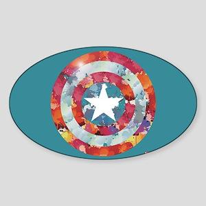 Captain America Tie-Dye Shield Sticker (Oval)