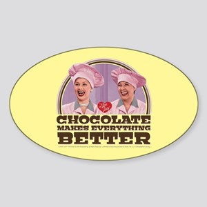 I Love Lucy: Chocolate Makes Everyt Sticker (Oval)
