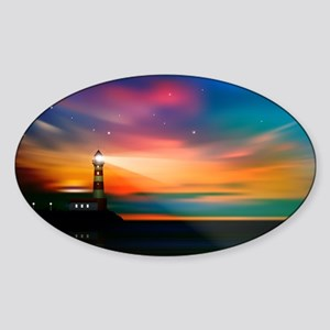 Sunrise Over The Sea And Lighthouse Sticker