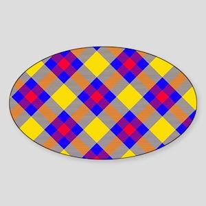 Yellow and Blue Tartan Sticker