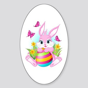 Pink Easter Bunny Sticker (Oval)