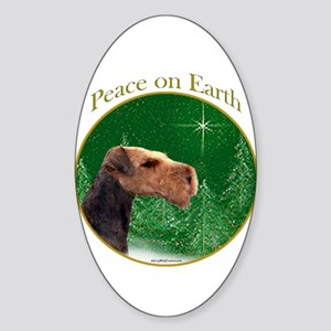 Airedale Peace Oval Sticker