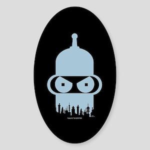 Futurama Bender City Sticker (Oval)