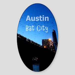 Austin_9x13.6_CongressAvenueBridgeB Sticker (Oval)