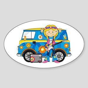 Hippie Girl and Camper Van Sticker (Oval)