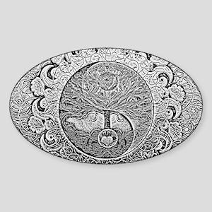 Shiny Metallic Tree of Life Yin Yang Sticker
