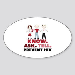 Know.Ask.Tell.Prevent HIV Sticker