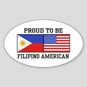 Proud Filipino American Oval Sticker