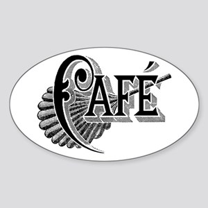 Cafe Oval Sticker