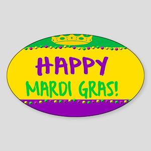 Happy Mardi Gras Crown and Beads Sticker