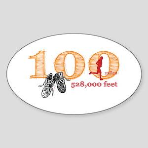 100 Mile Ultra Marathon Ladies Sticker (Oval)