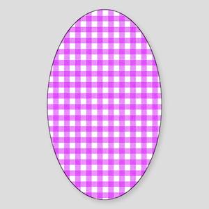 Pink Gingham Pattern Sticker (Oval)