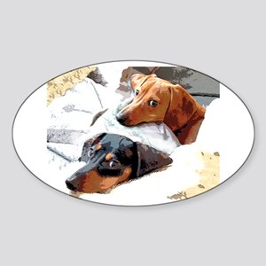Naptime Doxies Oval Sticker