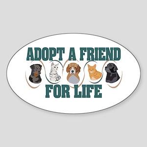 Adopt A Friend Oval Sticker