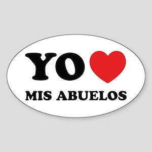 Yo Amo Mis Abuelos Oval Sticker