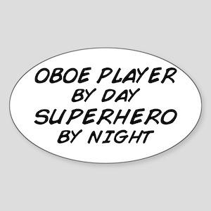 Oboe Superhero by Night Oval Sticker