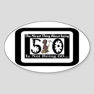 Being 50 Oval Sticker