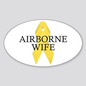 Airborne Wife Ribbon Oval Sticker