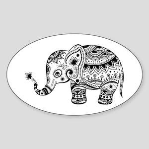 Cute Floral Elephant In Black Sticker