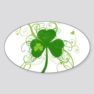 St Paddys Day Fancy Shamrock Sticker (Oval)