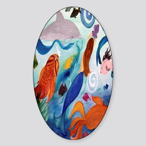 Mermaid and Tropical Fish Party Sticker (Oval)